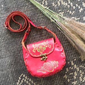 Pink Leather Handcrafted Crossbody Purse